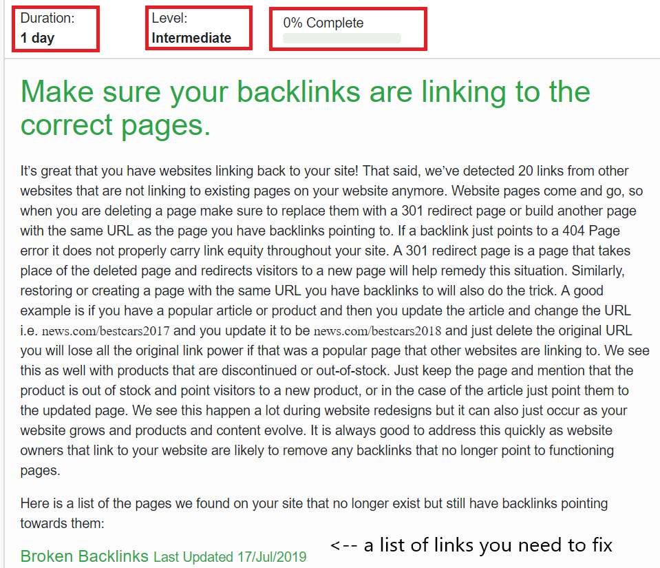 diib.com descibes how and why you need to make sure that backlinks are linking to correct pages