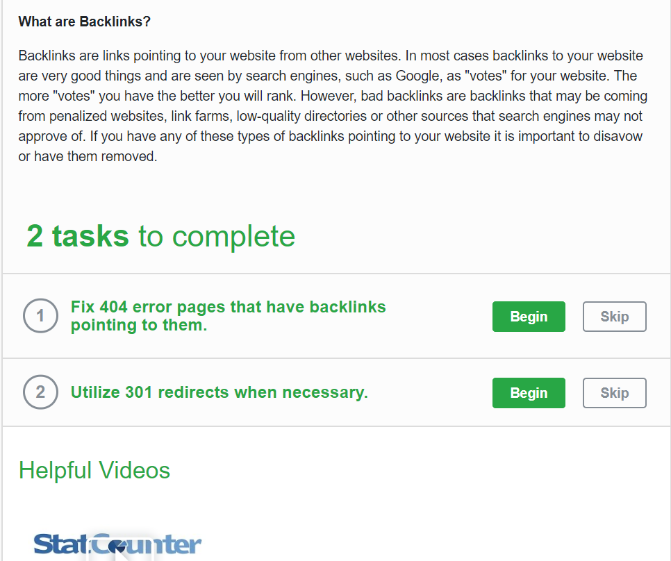 a screenshot from diib.com showing two tasks to complete in relation to backlinks