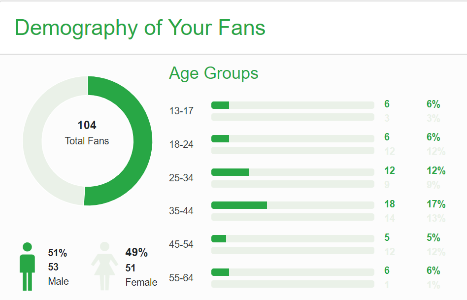 a screenshot of the facebook demography of your fans from your page by diib.com