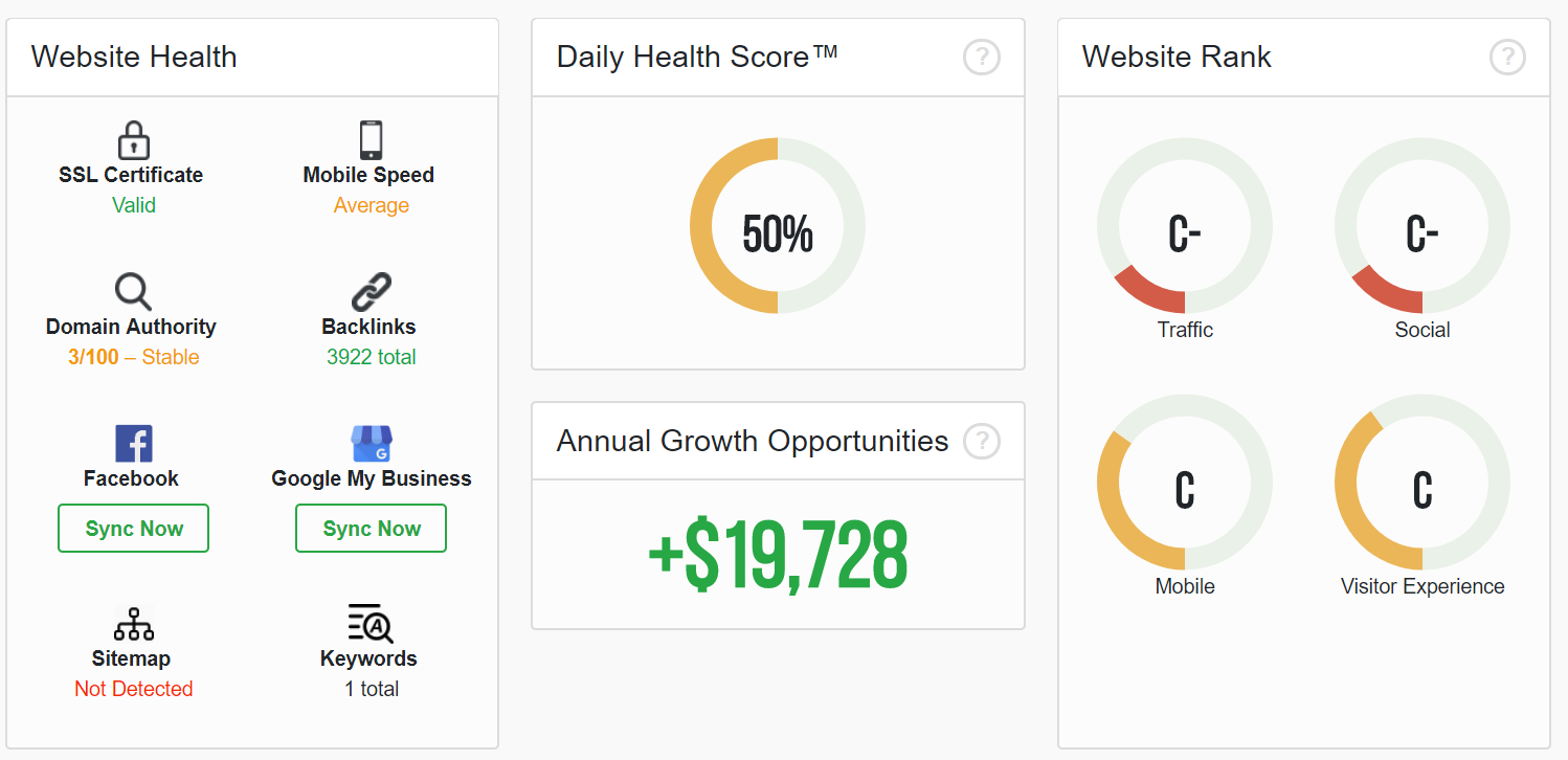 A dashboard showing annual growth opportunities for a website, along with different ranks and health statistics