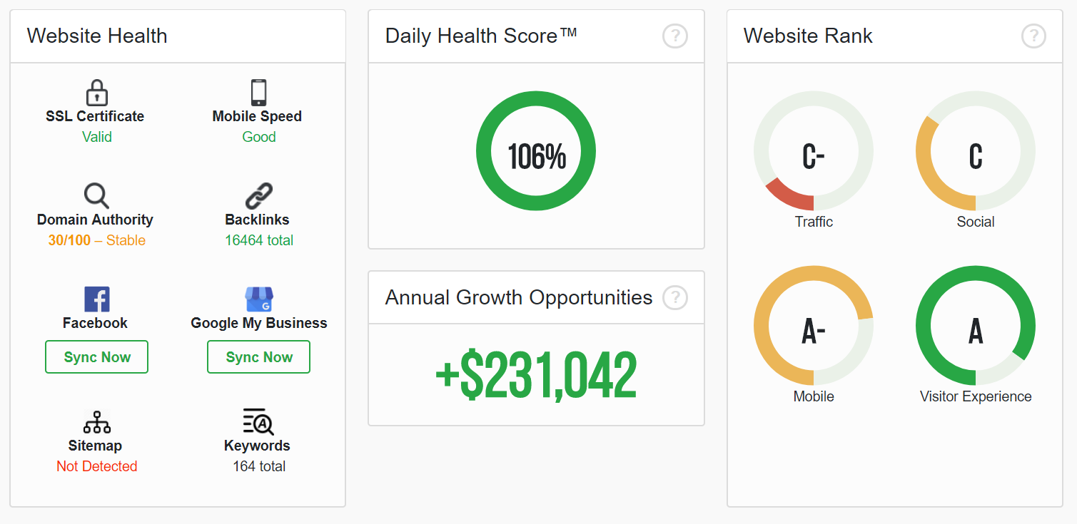 Another dashboard showing annual growth opportunities for a website, along with different ranks and health statistics