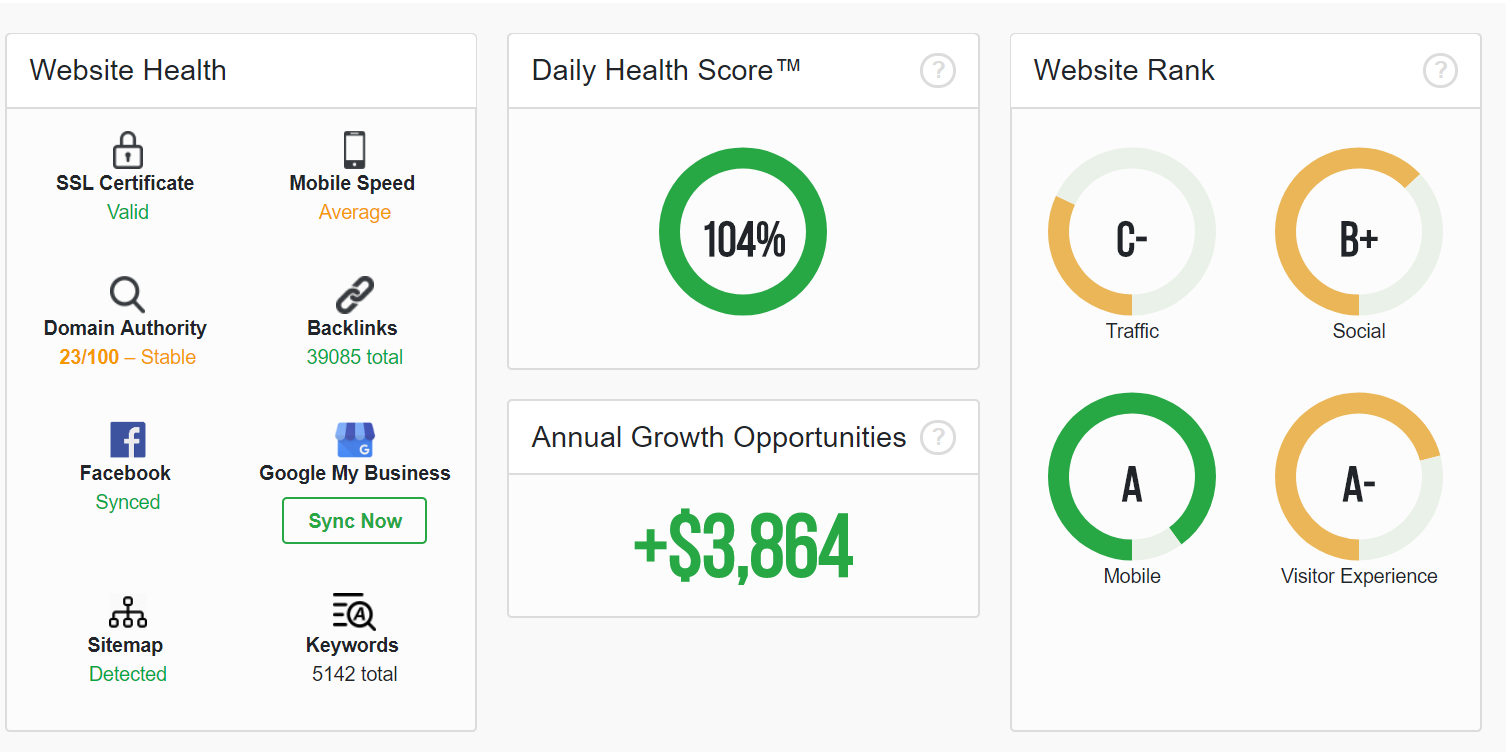 One more dashboard showing annual growth opportunities for a website, along with different ranks and health statistics