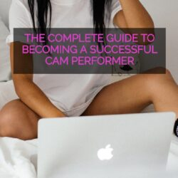 female cam performer sitting in front of her macbook