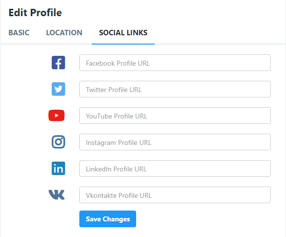 Screenshot showing where and how to add social media links to adultnode.com