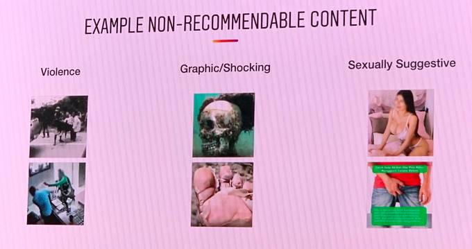 Six image examples of non-recommendable content from Instagram (Violence, Graphic/Shocking, Sexually Suggestive)