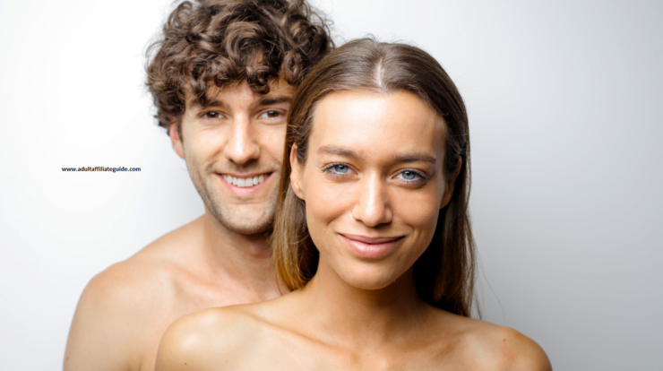 Two naked happy people making porn at home